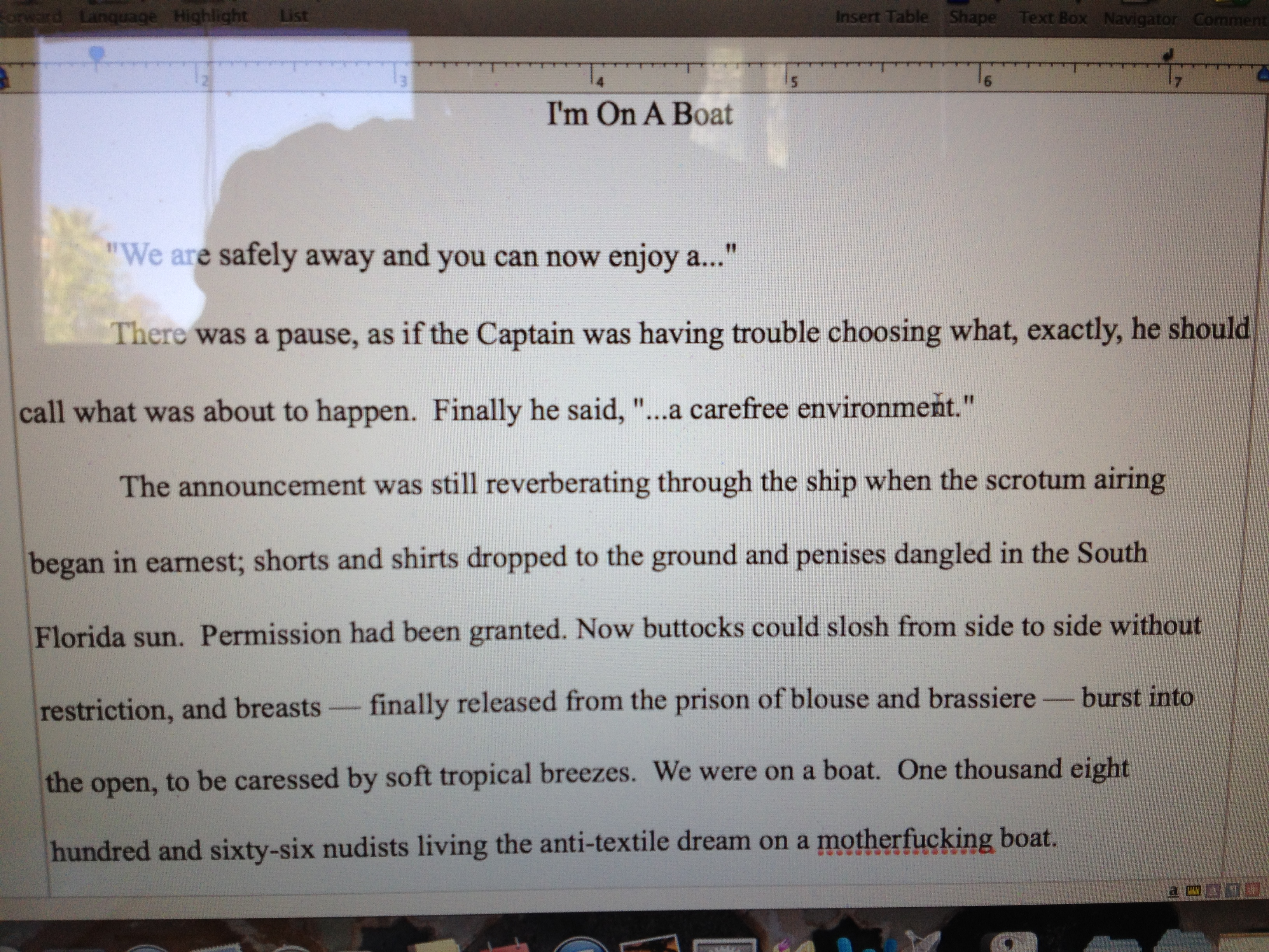 First paragraph, first chapter, first draft.